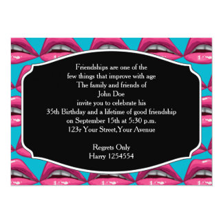 Birthday Pop Art Pink Lips Makeup 14 Cm X 19 Cm Invitation Card