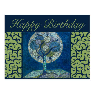 birthday postcard - moon in bloom painting