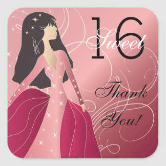 Birthday Princess Girl Square Sticker