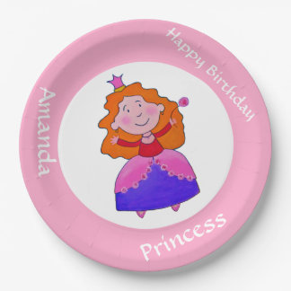 Birthday princess with crown and flower 9 inch paper plate