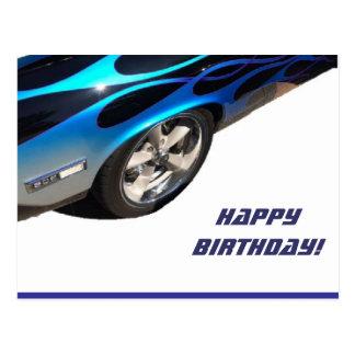birthday racing car postcard