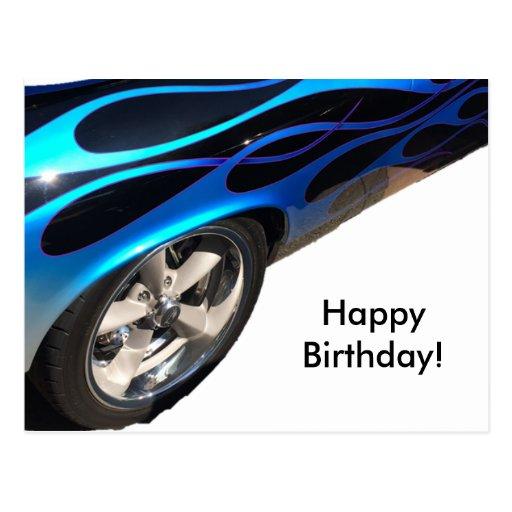 birthday racing car postcards