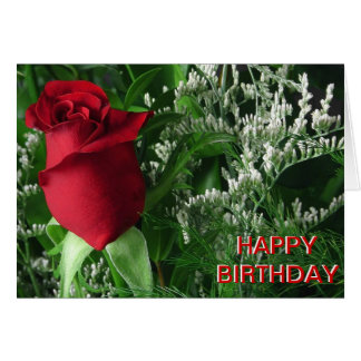 Birthday Red Rose Bud Card