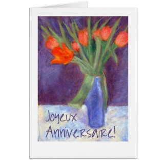 Birthday Red Tulips Card - French Greeting