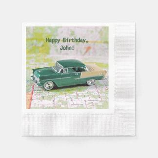 birthday-retro car on road map disposable serviette