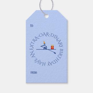 Birthday rower custom text blue gift tags