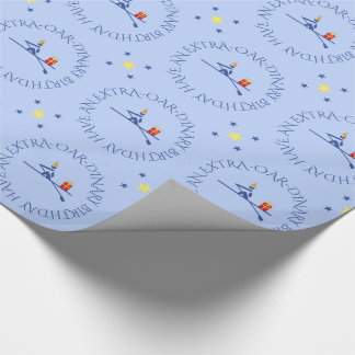 Birthday rower custom text blue wrapping paper
