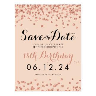 Birthday Save the Date Rose Gold Glitter Confetti Postcard