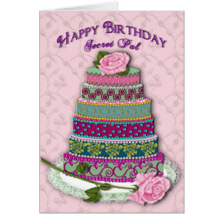 BIRTHDAY - SECRET PAL - MULTI TIER DECORATED CAKE CARD