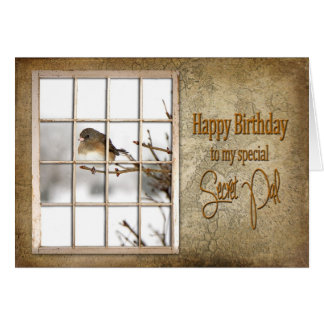 BIRTHDAY - SECRET PAL - VINTAGE WINDOW - BIRD CARD