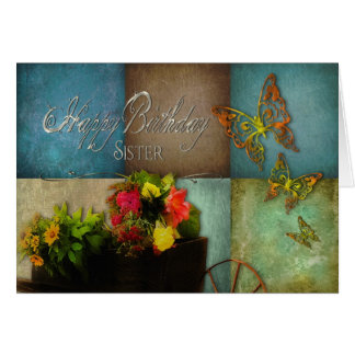 BIRTHDAY - SISTER - COUNTRY FLOWERS CARD