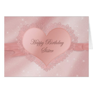 Birthday, Sister - Dainty Delicate Heart, Lace Card
