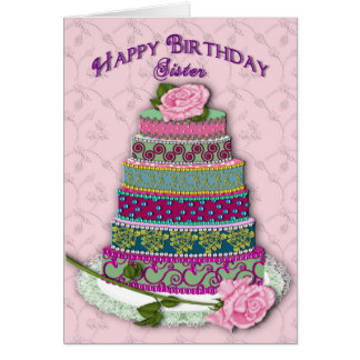 BIRTHDAY - SISTER - DECORATED CAKE CARD