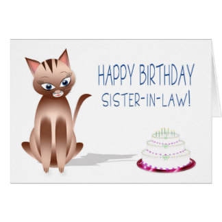 BIRTHDAY - Sister-in-law - Kitty Cat - Cake Card