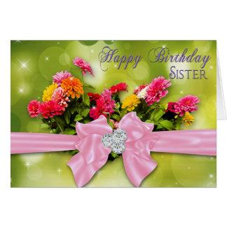 Birthday - Sister - Zinnias Card