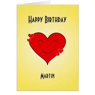 Birthday smiley heart custom text card