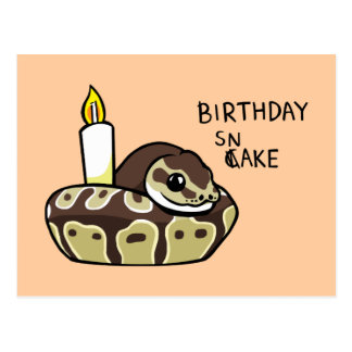 Birthday Snake Cute Ball Python Drawing Postcard
