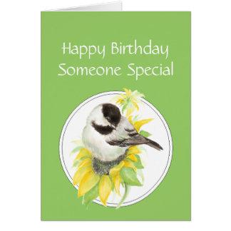 Birthday Someone Special Chickadee Sunflower Bird Card