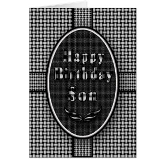 Birthday Son - Black white abstract Card