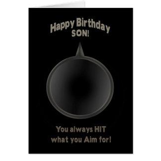 BIRTHDAY - SON - GUN - AIM GREETING CARD