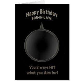 BIRTHDAY - SON-in-LAW - GUN - AIM Greeting Cards