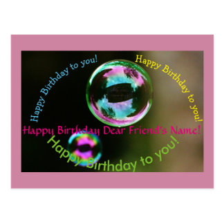Birthday Song Bubbles Customizable Postcard