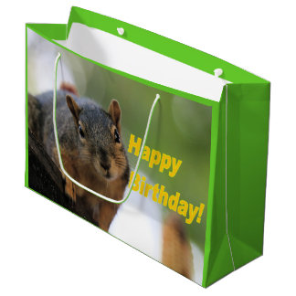 Birthday Squirrel Large Gift Bag