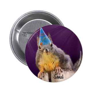 Birthday Squirrel Photo 6 Cm Round Badge