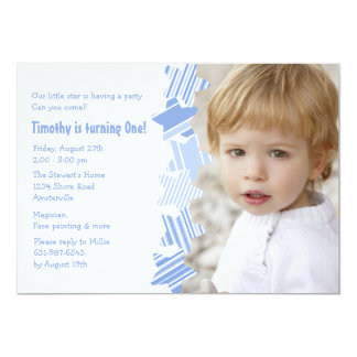 Birthday Star Blue Photo Invitation