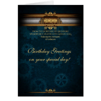 Birthday Steampunk Art Deco, brass and deep blue Card