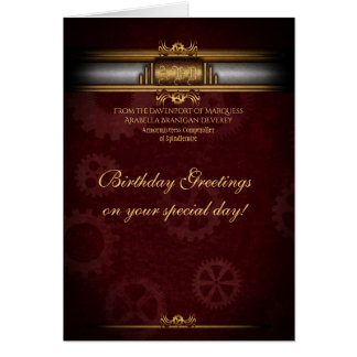 Birthday Steampunk Art Deco, brass and maroon Card