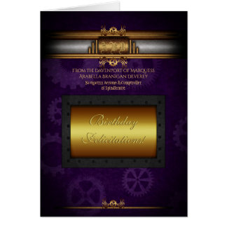 Birthday Steampunk, rivets, brass and royal purple Card