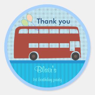 Birthday Stickers: London Bus Round Sticker