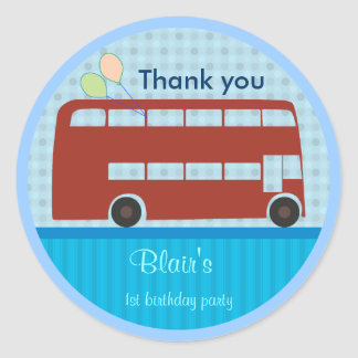 Birthday Stickers: London Bus Classic Round Sticker