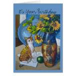 Birthday Sunflowers Cat Greeting Card