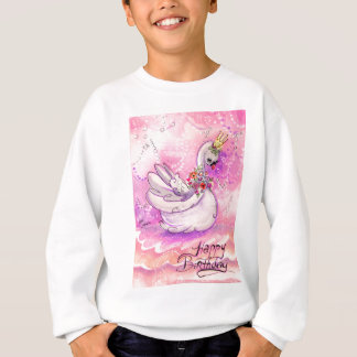Birthday Swan Watercolor Sweatshirt