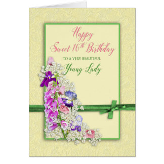 BIRTHDAY - SWEET 16TH - GARDEN FLOWERS - GREEN BOW CARD