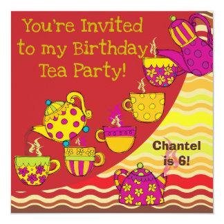 Birthday Tea Party Custom Birthday Invites