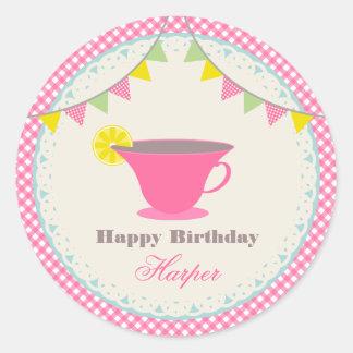 Birthday Tea Party Pink Gingham Round Sticker