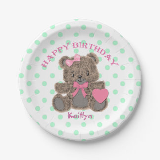 Birthday Teddy Bear Girl Personalized Paper Plate