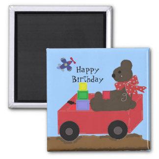 Birthday Teddybear in a Red Wagon Magnets