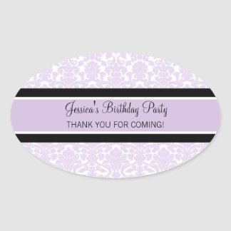 Birthday Thank You Custom Name Favor Tags Lilac Oval Sticker
