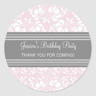 Birthday Thank You Custom Name Favor Tags Pink Round Sticker