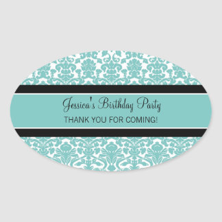 Birthday Thank You Custom Name Favor Tags Teal Oval Sticker