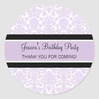 Birthday Thank You Custom Name Favour Tags Lilac Round Sticker