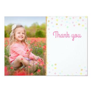 Birthday Thank You Photo Card Pink Confetti Blank