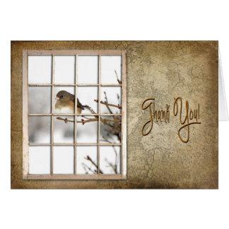 BIRTHDAY - THANK YOU - VINTAGE WINDOW - BIRD CARD