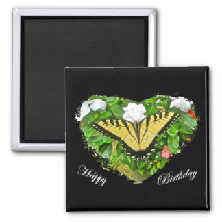 Birthday Tiger Swallowtail Butterfly Items Square Magnet
