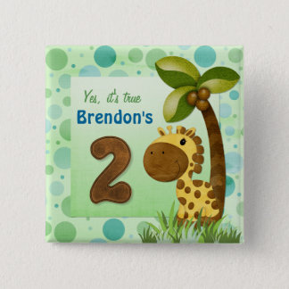 Birthday Tots Giraffe Birthday 15 Cm Square Badge