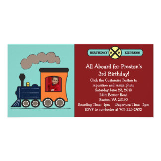 Birthday Train Photo Invitation - Red/Blue Personalized Photo Card
